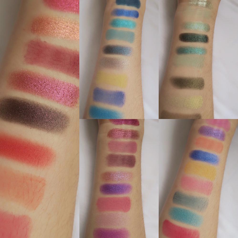 swatches paletas huda beauty